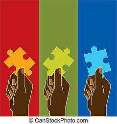 lösen, a, puzzel, mit, mannschaft