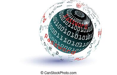 lösenord, abstrakt, klot