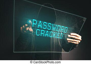lösenord, knäckt, unrecognizable, dator hacker, stöld, p