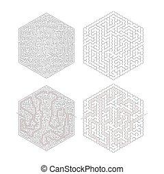 lösning, isolerat, hexagon-shape, invecklat, två, bana, labyrinter, vit röd