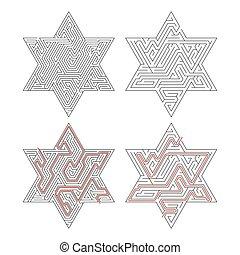 lösning, isolerat, invecklat, bana, labyrinter, vit röd, star-shaped