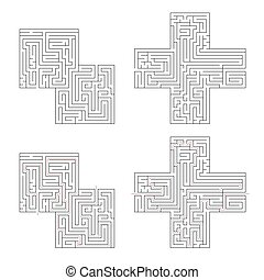 lösning, isolerat, invecklat, två, bana, labyrinter, vit röd