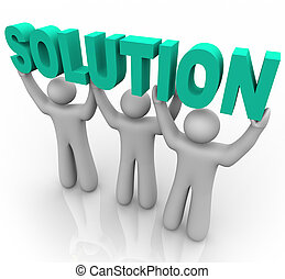 lösning, -, lyftande, den, ord
