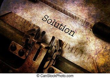lösning, text, på, årgång, skrivmaskin