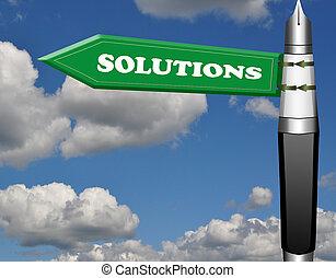 lösningar, reservoarpenna, vägmärke