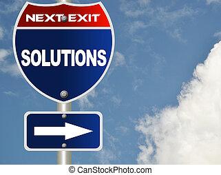 lösningar, vägmärke