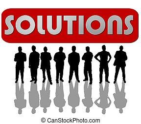 lösungen, geschäftsmenschen