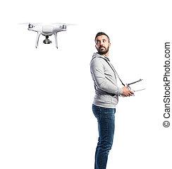 lövés, drone., repülés, elszigetelt, háttér, műterem, fehér, ember