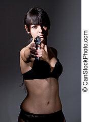 lövés, közül, egy, szexi, hadi, nő, feltevő, noha, fegyverek