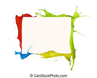 lövés, színezett, keret, elszigetelt, festék fröccsen, háttér, fehér