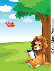 löwe, lesende , baum, unter