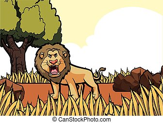 löwe, savanah, safari
