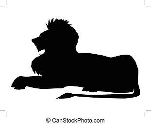löwe, symbol, von, macht