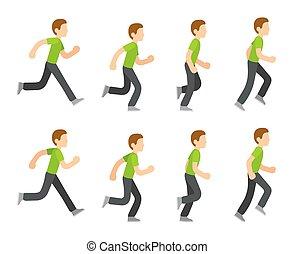 løb, animation, mand