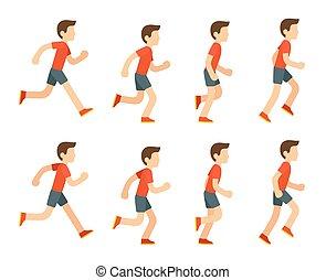 løb, animation., mand