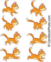 løb, animation, sprite, kat