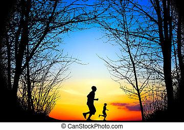 løb, hos, solnedgang