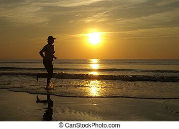 løb, ind, den, solnedgang