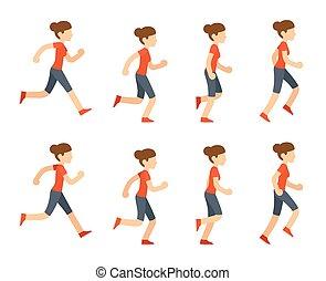 løb, kvinde, animation
