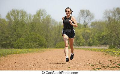 løb, kvinde, moden