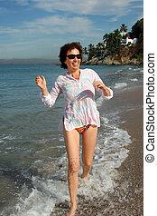 løb, kvinde, strand, glade