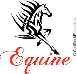 løb mønster, hest, stamme, symbol