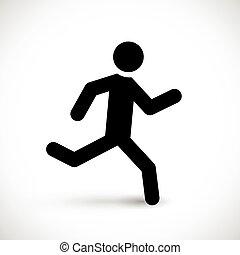 løb, mand pind