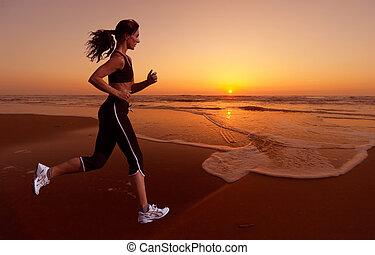 løb, og, solnedgang