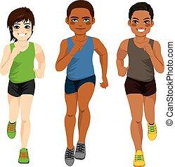 løber, forskellige, mænd, ethnicity