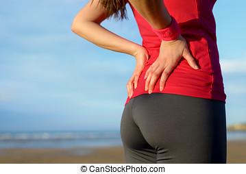 løber, lavtliggende smerte tilbage, kvæstelse