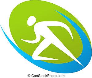 løber, logo, /, ikon