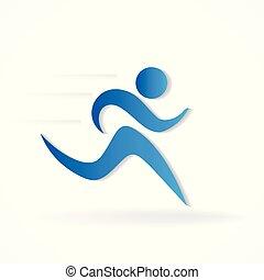 løber, logo, mand figur