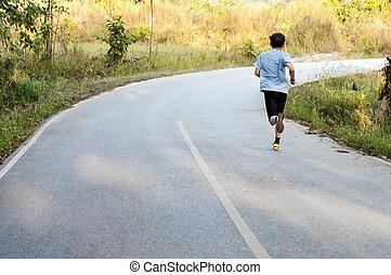 løber, på, den, formiddag, maraton