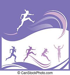 løber, silhuetter, kvindelig
