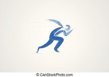 løber, watercolor, vektor, logo