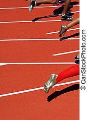 løbere, hos, den, start, i, en, væddeløb