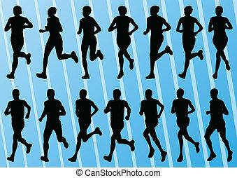 løbere maraton, detaljeret, aktiv, mand kvinde, illustration, silhuetter, samling, baggrund, vektor