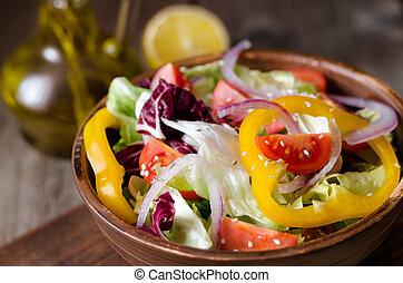 løg, salat, peber, sød, friske tomater