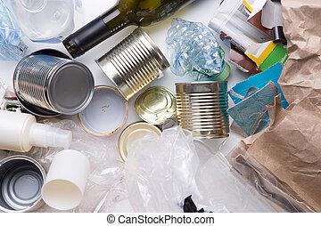løgne, hvid, affaldet, tabel
