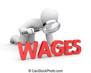 lønning, glas, ransage, forstørrer, menneske