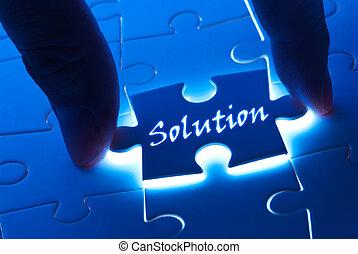 løsning, glose, på, gåde stykke