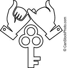 løsning, hånd, teamwork, nøgle, sammen, commitment, udkast, logo