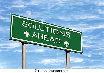 løsninger, ahead, vej underskriv