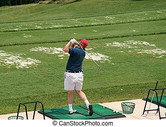 lőtávolság, golfjátékos, vezetés