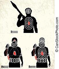 lőtávolság, lövés, -, terrorista, céltábla