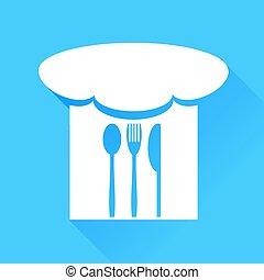 lžíce, vidlice, nůž, a, vrchní kuchař povolání