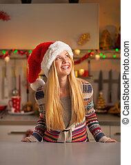 l, クリスマス, ティーネージャー, 肖像画, 飾られる, 幸せ, 女の子, 台所