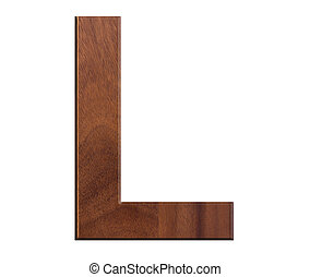 L, alphabet letters wooden on white background