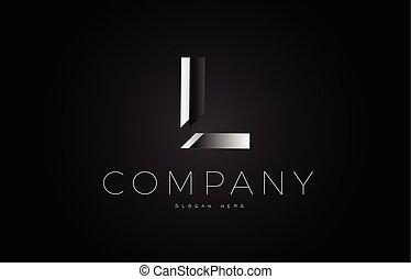 L black white silver letter logo design icon alphabet 3d