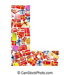 l, carta, -, alfabeto, hecho, de, giftboxes